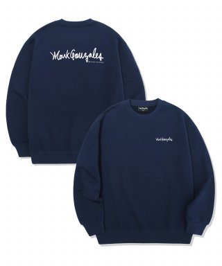 마크 곤잘레스(markgonzales) M/G SMALL SIGN LOGO CREWNECK NAVY