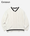 MIXED CABLE V-NECK KNIT OFF WHITE