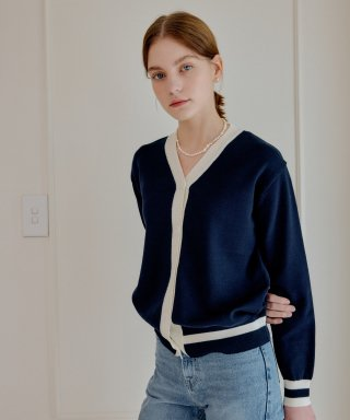 엽페() color cardigan_navy