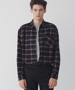 모디파이드(modified) M#1637 tartan black check shirt (red)