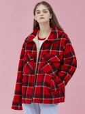 아이아이(eyeye) CHECK SHERAING JACKET_RED (EEOG4JKR01W)