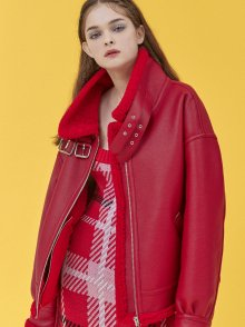 FAKE LEATHER LAMB SHEARING JACKET_RED (EEOG4LJR01W)