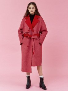 DIAGONAL SRTIPE WOOL TRENCH COAT_RED (EEOG4CTR03W)
