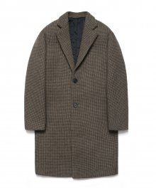 Wool Single Coat_Hounds tooth check Brown