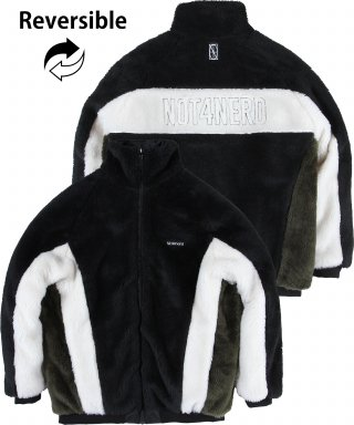 낫포너드(not4nerd) Reversible Symbol Logo Boa Fleece Jacket Black