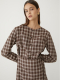 BUTTON CHECK ONE-PIECE_BROWN