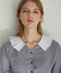 몬츠() monts770 pleats collar check blouse (navy)