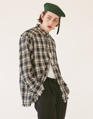 오파츠(ooparts) OPT18FWSH02NV Wool check shirt Navy