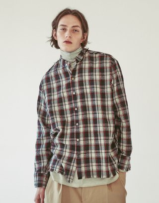 오파츠(ooparts) OPT18FWSH02CH Wool check shirt Charcoal