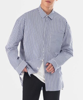브랜디드(branded) [핸드메이드] OVERFIT HIDDEN BIAS POCKET SHIRTS [NAVY]
