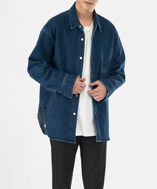 브랜디드(branded) OVERSIZE WASHED DENIM SHIRTS [INDIGO]