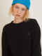 BLACK CASHMERE ONE POINT ROUND KNIT