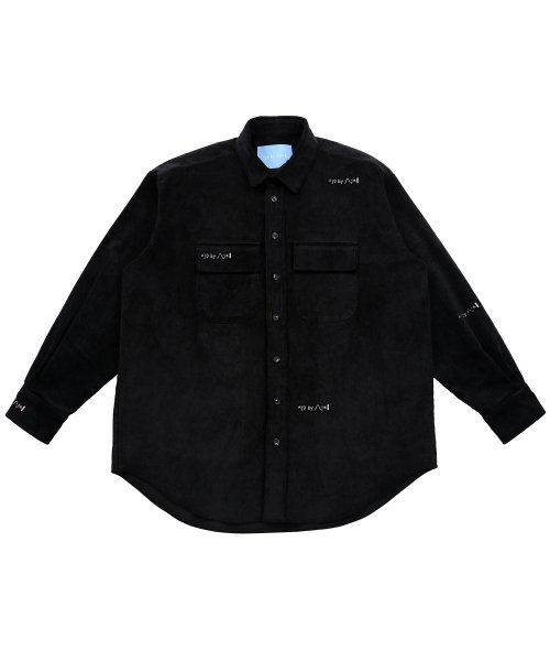 아조바이아조 핑크 라벨(AJOBYAJO FINK LABEL) Logo Embroidery Corduroy Shirt (Black)