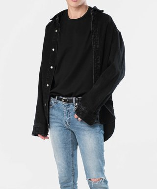 브랜디드(branded) OVERSIZE WASHED DENIM SHIRTS [BLACK]
