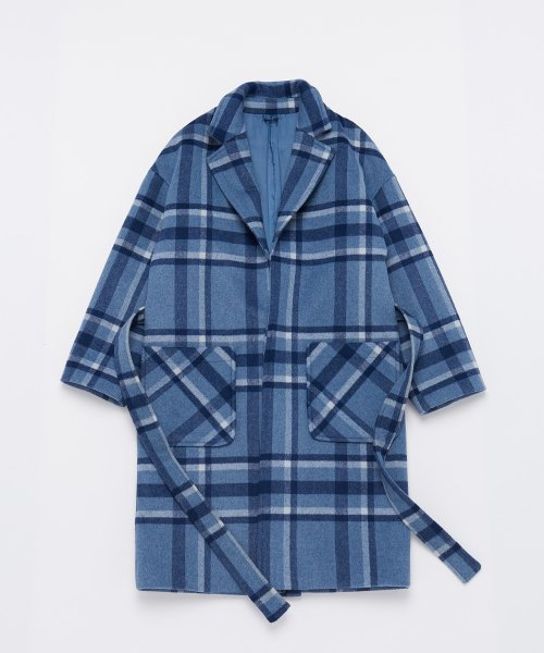 어낫띵(A NOTHING) OVERSIZE WOOL CHECK ROBE COAT (Blue)