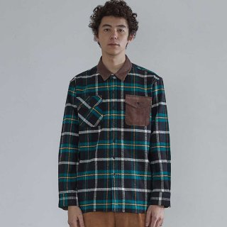 홀리선(horlisun) Fariview Cotton Corduroy Flannel Check Shirts Green Black