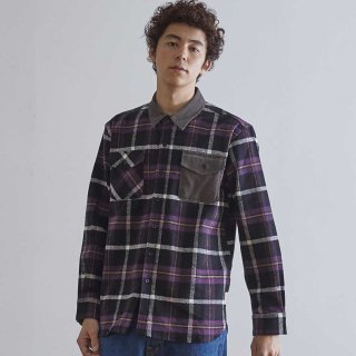 홀리선(horlisun) Fariview Cotton Corduroy Flannel Check Shirts Purple Black