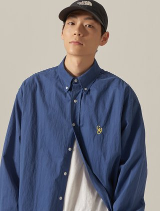 쵸이지(choisi) Cotton Loose Fit Shirt (Blue)