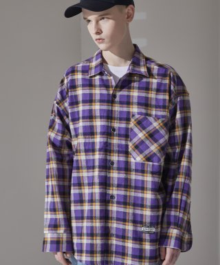 어드바이저리(advisory) Check Oversize Shirt-Purple