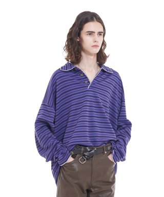 뷔엘(vuiel) STRIPED RUGBY SHIRT  PURPLE