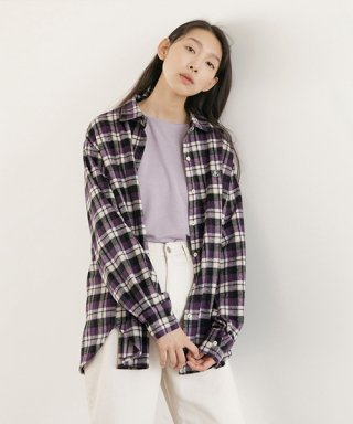 논로컬(nonlocal) Mild Logo Check Shirts - Purple
