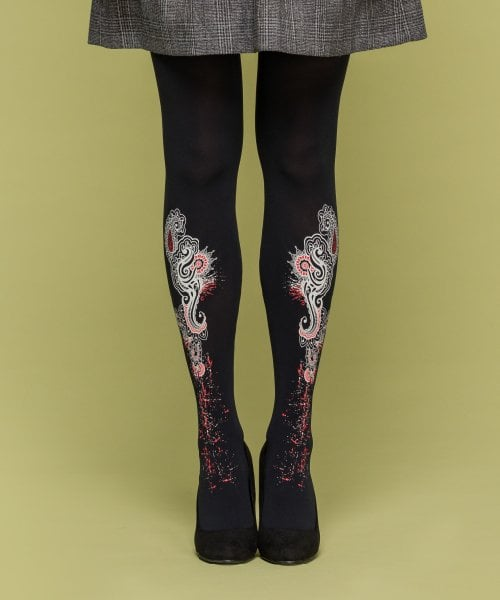 유니팝 레그웨어(UNIPOP LEGWEAR) INDIA PATTERN - black