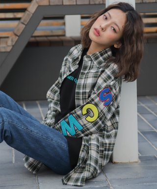 코드아이엠(codeim) SCW LOGO OVER FIT TARTAN CHECK SHIRT IVORY