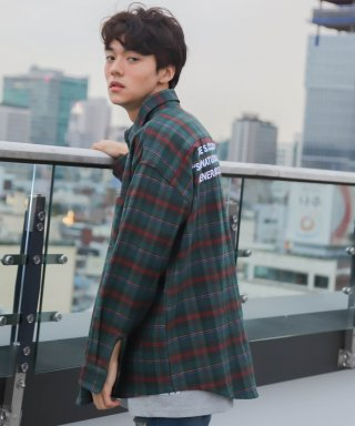 코드아이엠(codeim) SCW LETTERING OVER FIT CHECK SHIRT GREEN