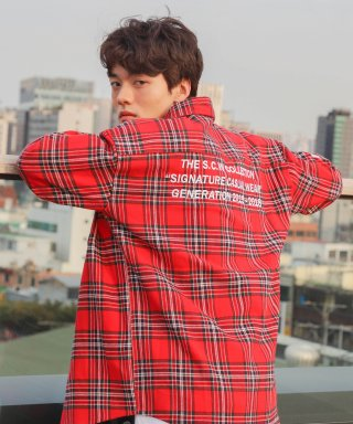 코드아이엠(codeim) SCW LETTERING OVER FIT CHECK SHIRT RED