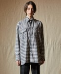 인디고칠드런() OVERSIZED POCKET CHECK SHIRT [GREY]
