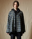 인디고칠드런() OVERSIZED TARTAN CHECK SHIRT JACKET [BLUE]