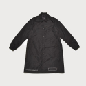 LONG SLEEVE WOVEN TRENCH COAT - BLACK