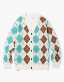 아이졸라() Argyle Check Cardigan - Cream