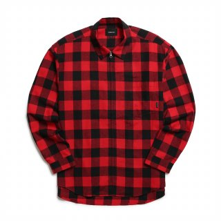 오버캐스트(overcast) Buffalo Plaid Flannel Zip Shirt (Red)