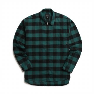 오버캐스트(overcast) Buffalo Plaid Flannel Zip Shirt (Green)