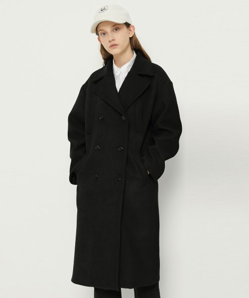 매치글로브(MATCHGLOBE) MG8F DOUBLE WOOL COAT (BLACK)