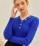 몬츠() 783 button v-neck angora knit (blue)