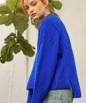 몬츠(MONTS) 785 high neck unbalance knit (blue)