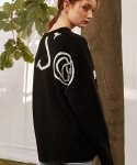 몬츠(MONTS) 788 woo80% lettering logo knit (black)