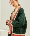 몬츠(MONTS) 804 wool80% color scheme cardigan (green)