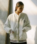 써치410(SEARCH410) UNISEX NEEDLE WORK BOA FUR CARDIGAN_WHITE