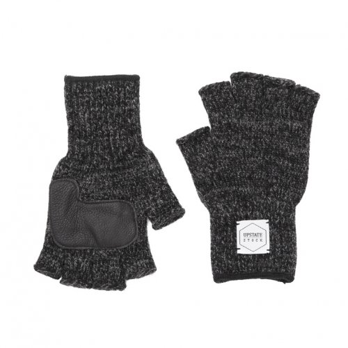 업스테이트 스탁(UPSTATE STOCK) Fingerless Wool Glove (Palm Leather) - Black