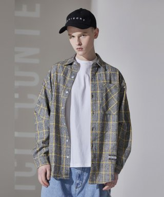 어드바이저리(advisory) Wool Check Oversize Shirts - Yellow