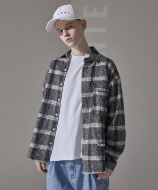 어드바이저리(advisory) Wool Check Oversize Shirts - Grey
