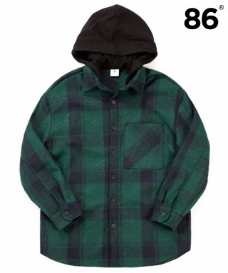 86로드(86road) Hood Check Shirts Jacket - Green