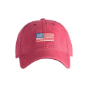 Adult`s Hats American Flag on Weathered Red