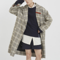 로맨틱크라운(ROMANTIC CROWN) Striped Lapel Check Coat_Grey