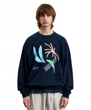 라이풀(liful) DOODLING COLLAGE SWEATSHIRT navy