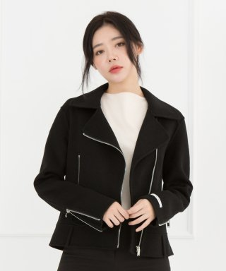 스텔라비(stellabe) WOMENs WOOL HANDMADE RIDER JACKET (BLACK)