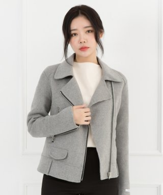 스텔라비(stellabe) WOMENs WOOL HANDMADE RIDER JACKET (MELANGE GREY)